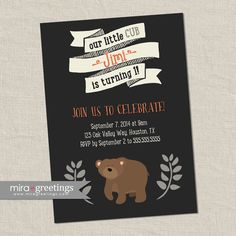 Bear Birthday Party Invitations - Bear cub Little Woodland Birthday Party Invites - vintage baby first birthday (Printable Digital File) by miragreetings on Etsy https://www.etsy.com/listing/208976377/bear-birthday-party-invitations-bear-cub