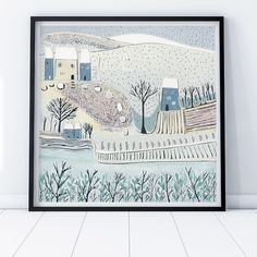 Christmas lino print - original artwork depicting a beautiful winter scent Inuit Art, Art Calendar, Winter Art, Linocut Prints, Winter Scenes, Christmas Art, Box Art, Landscape Art, Wall Art Prints