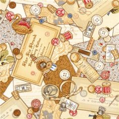 beige Robert Kaufman vintage sewing fabric pin cushion