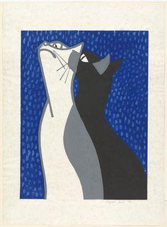 Two Cats - woodcut print 1952 - Kiyoshi Saito (Japan, 1907-1997)