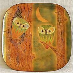 Square Owl Plate Enamel on Copper by Miguel Pineda