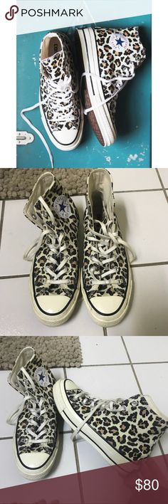 Free People Leopard Converse Free People Leopard / Cheetah Converse. These are a size 7, but they run big. I am typically a size 8.  Worn only once or twice for short periods of time! *open to negotiation and reasonable offers* Free People Shoes Sneakers