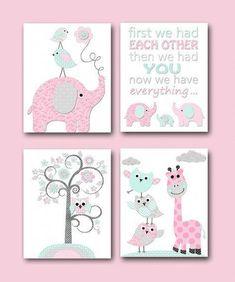 Baby Girl Nursery Quotes Kids Wall Art Kids Art Children Wall Art Baby Room  Decor Giraffe Elephant Wall Decor Set Of 4 Pink Grey Mint By Artbynataera  On ...