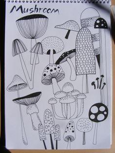 Mushroom illustration sketch-plan. Created with Sacura pigma micron pens.