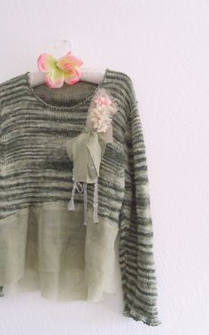 Funky Dress/ Shabby Chic Sweater/ Tattered Eco Fashion by KheGreen, $45.00