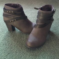 Ankle booties Brown ankle booties with wrap around straps detail...worn once. Mossimo Supply Co Shoes Ankle Boots & Booties