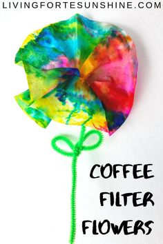 Adorable Tie-Dye Preschool Flower Craft - The Play Based Mom - This coffee filter flower bouquet craft is the perfect DIY Mother's Day gift, or just a fun craft - Mothers Day Crafts For Kids, Diy Mothers Day Gifts, Parent Gifts, Diy Gifts, Coffee Filter Crafts, Coffee Filter Flowers, Coffee Filters, Tie Dye Crafts, Crafts To Do