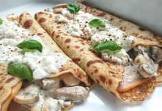 Crepe Picarde: Pannenkoek met ham, paddestoelen en roomkaas (maar dan slanker)
