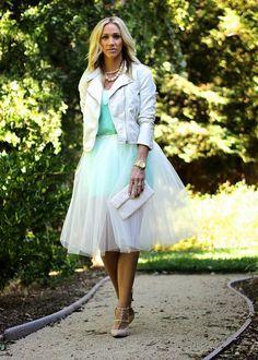 Tulle Skirt + leather jacket