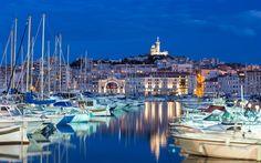 Descargar fondos de pantalla Marsella, el laurel, la noche, el yate de aparcamiento, blanco yates, barcos, Francia
