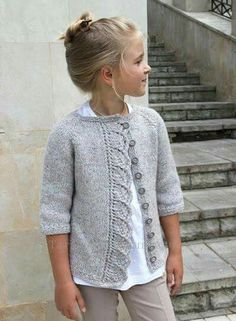 """Knitted cardigan for girls """"Knitted cardigan for girls. Ravelry: Cove Cardigan pattern by Heidi May"""", """"Knitting Archives - Page 2 of 10 - Crafting Today Baby Knitting Patterns, Knitting For Kids, Baby Patterns, Baby Cardigan Knitting Pattern, Knitting Ideas, Free Knitting, Crochet Baby, Knit Crochet, Ravelry Crochet"""