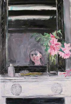 Shani Rhys James  Moisturiser, Peonies and Hairbrush, 2010  Oil on linen