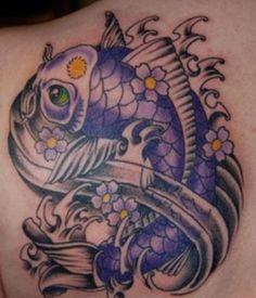 Tattoo. Purple coy fish