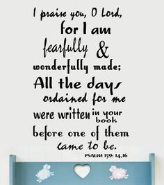 Psalm 139.... I am fearfully and wonderfully made!