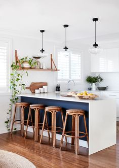By the sparkling shores of Lake Macquarie, Anna Moore and her husband Aaron have achieved a coastal-chic home that's perfect for their family. Kitchen Room Design, Interior Design Kitchen, Kitchen Decor, Beach House Kitchens, Home Kitchens, Small Beach Houses, Sweet Home, Beach House Decor, Home Decor