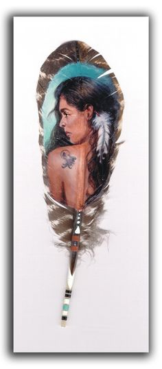 Tattood Maiden, feather painting print by ONETA