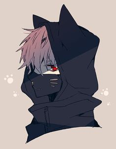 Kaneki with a Nakigitsune mask                              …