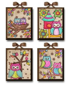 Just Owls Set of 4 Giclee Canvas nursery por art4theLITTLEpeople