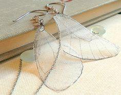 Butterfly Earrings, Butterfly Wing Earrings, Transparent Wings, Silk Butterfly Earrings, Silk Wings, Seafoam Chalcedony, Labradorite, Drop