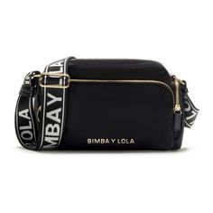 BIMBA Y LOLA black-coloured double crossbody bag. From the Olympia Collection, a collection in technical fabric updated this season in new sizes and c Olympia, 19 Birthday, Bohemian Fabric, Gifts For My Wife, Cloth Bags, Necklaces, Bracelets, Hand Bags, Purses And Bags