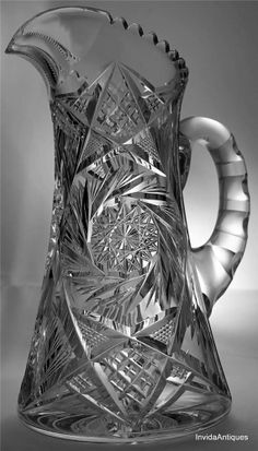 Lovely Antique ABP American Brilliant Cut Glass Water Lemonade Pitcher