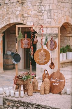 Natural beauty shines in luxury destination wedding in Crete, Greece two brides lesbian wedding nature outdoors greenery hills wooden decor Seating Chart Wedding, Seating Charts, Wedding Table, Rustic Wedding, Our Wedding, Dream Wedding, Fall Wedding, Deco Champetre, Wedding Music