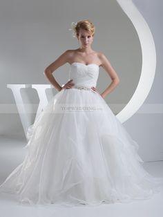 Querida - corte evasé barrer vestido de novia de satén con cuentas