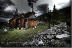 Stave church    Keywords: Stock Photo Picture Art Photography Buskerud Clouds Cloudy Dark Skies Europe Gamle Kyrkje HDR High Dynamic Range Hol Horizontal Kongeriket Noreg Kongeriket Norge Medieval Nordic Nordic Countries Norway Norwegian Landmarks Old Scandinavia Stave Church Style Wooden
