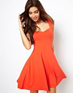 love this for the e-shoot. ASOS Sleeveless Skater Dress With Sweetheart Neck.
