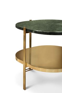 Craig is a round side table that combines a stylish polished brass structure with a verde guatemala marble top. Mid Century Modern Table, Mid Century Decor, Mid Century Modern Furniture, Midcentury Modern, Unique Furniture, Furniture Design, Interior Design Shows, Interior Ideas, Modern Side Table