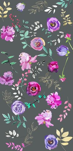 Grey floral pink purple