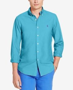 Polo Ralph Lauren Men's Slim Fit Garment Dyed Long-Sleeve Shirt - French Turquoise XXL