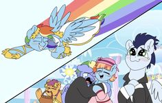 MLP:FIM Imageboard - Image #1753808 - artist:pinkpastelcharms, bow hothoof, clothes, crying, dress, female, flying, male, pony, rainbow dash, rainbow trail, safe, scootaloo, shipping, soarin', soarindash, straight, suit, tears of joy, wedding dress, windy whistles