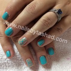 www.nailsbytashad.com  Instagram: nailsbytashad  #nailart #nailtrends #gelmanicure I was trying out he new gel by Essie with this Tiffany blue gel manicure and linework accent nail