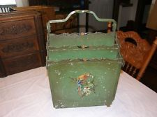 rare art deco antique metal tole painted magazine holder victorian arts & crafts