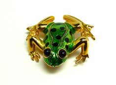 Enamel Frog Brooch  Green with Black polkadots  by thejewelseeker, $10.00  Frog! What a great Deal!