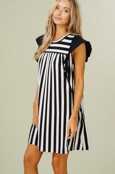 3280c1016f256 Gianna Striped Ruffle Sleeve Dress