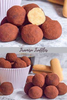 Tiramisu Dessert, Bite Size, No Bake Cake, Truffles, Muffin, Gluten, Yummy Food, Snacks, Cookies