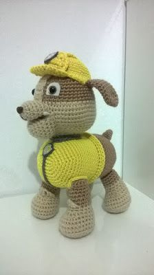 The character of canine patrol Ruble 25 cm high approx Amigurumi. Knitted Dolls, Crochet Dolls, Crochet Baby, Free Crochet, Paw Patrol, Crochet Amigurumi Free Patterns, Crochet Gifts, Crochet Animals, Instagram