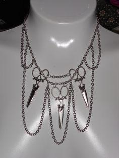 Hairstylist Dressmaker  PatternMaker Tailor Silver Scissor Shears Chain Drape Necklace. $27.00, via Etsy.