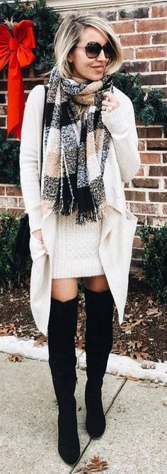#Winter #Outfits / Cashmere Scarf - OTK Black Boots