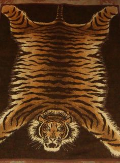 Vtg Biederlack W Germany Bengal Tiger Hide Skin Rug Blanket Throw Reversible  #Biederlack #Animal