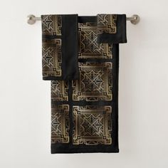 Black & Gold Art Deco Bathroom Towel Set - black gifts unique cool diy customize personalize