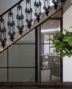 Wrought Iron Staircase, Staircase Railings, Staircases, Railing Design, Staircase Design, Gio Ponti, Door Under Stairs, London Townhouse, Moroccan Tiles
