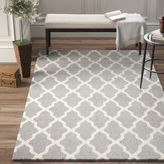 Birch Lane™ Heritage Whitchurch Hand-Tufted Wool Gray Area Rug Rug Size: Rectangle x Whitchurch, Color Schemes, Beige Area Rugs, Trellis Pattern, Grey, Tufted, Rugs, Contemporary Rug, Area Rugs