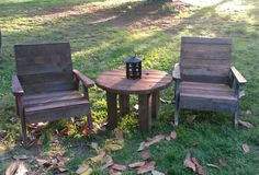 #Garden, #PalletChair, #PalletTable, #RecyclingWoodPallets I took two broken chairs and brought them back to life with recycled pallet wood. I also turned a wire spool into a side table. I used steel wool and apple cider vinegar as the stain. Definitely, trash to treasure.