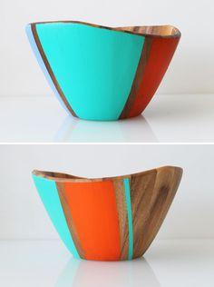 DIY: color-blocked wooden bowls