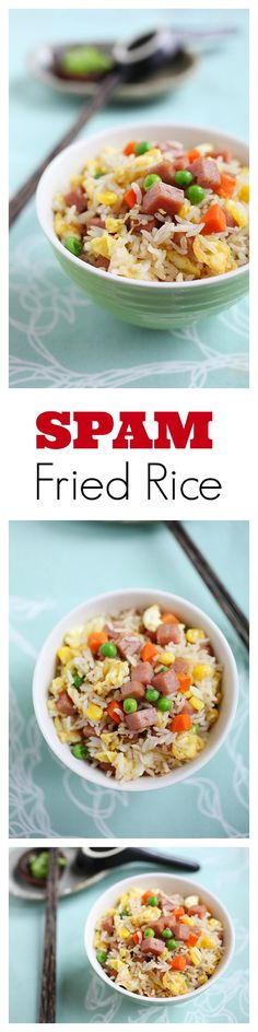 SPAM Fried Rice - everyone's guilty pleasure. EASY and no-fuss recipe that you can make in less than 20 minutes | rasamalaysia.com