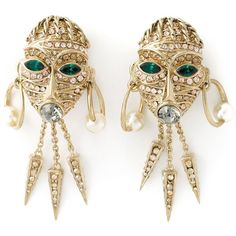 Roberto Cavalli Mask Clip-on Earrings ($386) ❤ liked on Polyvore featuring jewelry, earrings, metallic, gold tone jewelry, gold tone earrings, clip back earrings, clip on earrings and roberto cavalli earrings