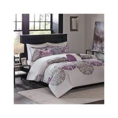Madison Park Sydney 6 Piece Duvet Cover Set ($99) ❤ liked on Polyvore featuring home, bed & bath, bedding, duvet covers, purple, purple bedding, purple pillow shams, full/queen duvet, purple duvet and medallion bedding